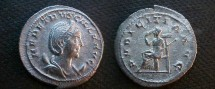 Ancient Coins - Herennia Etruscilla, AR Antoninianus.  PVDICITA AVG, Pudicitia seated, holding a scepter and drawing her veil.