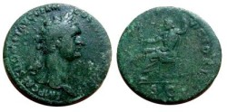 Ancient Coins - Domitian AE Sestertius.  IOVI VICTORI, Jupiter seated left, SC in exergue.
