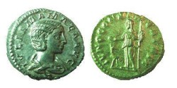 Ancient Coins - Julia Mamaea Denarius.  IVNO CONSERVATRIX, Juno, diademed, veiled, standing half-left, with patera & scepter & peacock at feet.