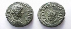 Ancient Coins - Geta AE18 of Hadrianopolis, Thrace.  Bunch of grapes on stem.