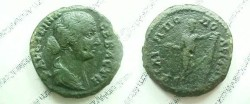 Ancient Coins - Faustina Jr AE26 of Philippolis, Thrace.  <font face=SYMBOL>FILIPPOPOLEITWN</font>, Apollo standing right holding arrow & leaning on column.