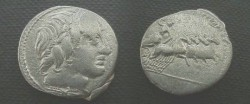 Ancient Coins - Anonymous Denarius,  86 BC.  Jupiter in quadriga right, hurling a thunderbolt.