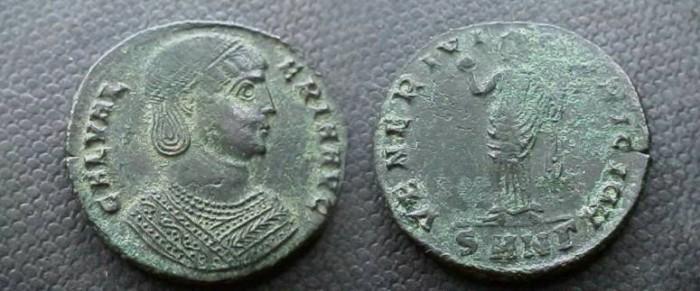 Ancient Coins - Galeria Valeria  Æ Follis.  VENERI VICTRICI CMH, Venus standing facing with apple and drapery; SMN