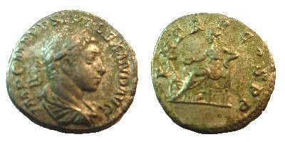 Ancient Coins - Severus Alexander Denarius. P M TR P COS P P, Salus seated left, feeding snake arising from altar.