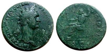 Ancient Coins - Domitian AE Sestertius.  IOVI VICTORI, Jupiter seated left, SC in exergue.