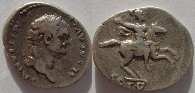 Ancient Coins - Roman Empire. Domitian. A.D. 81-96 AR Denarius.DOMITIAN HOLDS HUMAN HEAD!