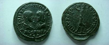 Ancient Coins - Philip I & Otacilia Severa AE31 of Tomis, Thrace.  Serapis standing left with raised hand and scepter.