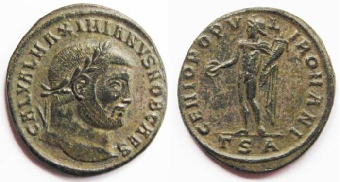 Ancient Coins - Galerius AE Follis GENIO POPV-L-I ROMANI Genius standing left, holding patera and cornucopia.