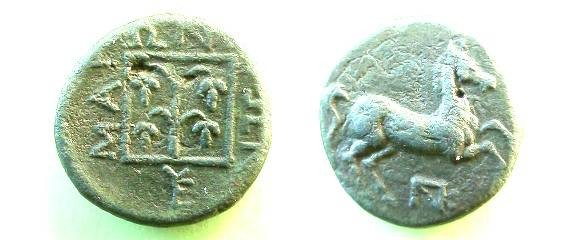 Ancient Coins - Maroneia, Thrace, AE15.  MAR WNI TWN around three sides of linear square containing vine, YE monogram below.