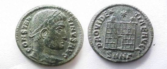 Ancient Coins - Constantine the Great AE3 Campgate.