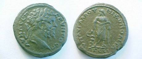 Ancient Coins - Septimius Severus AE29 of Nikopolis, Moesia Inferior.  Asklepius standing right, head left, holding serpent-entwinded staff.