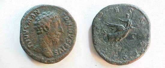 Ancient Coins - Divus Marcus Aurelius Æ Sestertius.  CONSECRATIO S-C, Marcus being borne off by an eagle.