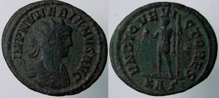 Ancient Coins - Numerian Æ Antoninianus. Rome mint. VNDIQVE VICTORES, Numerian standing left, holding globe & scepter