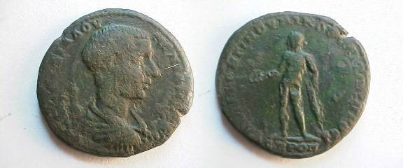 Ancient Coins - Diadumenian Æ25 of Nikopolis ad Istrum.  Apollo standing left with patera and bow.