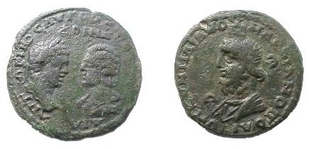 Ancient Coins - Caracalla & Julia Domna Æ 28mm of Markianopolis.  Draped bust of Serapis, in modius, left, E in right field.