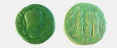 Ancient Coins - Maximinus I AE25 of Anchialus.  AGCIALEWN, three female figures (Demeter, Persephone & Hecate?), wearing long dresses, standing together.