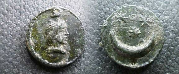 Ancient Coins - Mithaic charm.  AE 12 mm. Bust right / crescent moon and three stars.
