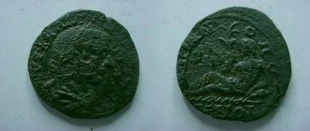 Ancient Coins - Gordian III AE27 of Hadrianopolis, Thrace.  River god reclining left on jug from which waters flow, holding reed.