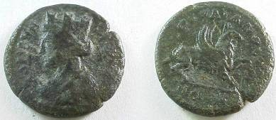 Ancient Coins - Ionia, Teos.  Circa 2nd Century AD. Æ21mm Turreted bust of young Dionysos as Teos left/Griffin right.