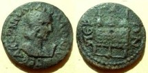 Ancient Coins - Salonina AE28 (10 Assaria) of Perga, Pamphylia.  Basket with three prize purses on top.