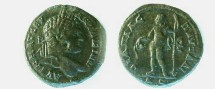 Ancient Coins - Caracalla AE32 of Pautalia, Thrace.  Dionysos standing left, pouring wine from jug & holding filletted thyrsus.