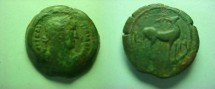 Ancient Coins - Hadrian AE20mm Hemiobol of Alexandria.  L-IA (year 11), Stag standing right with head looking upwards.