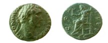 Ancient Coins - Antoninus Pius AE As.  COS IIII, Jupiter seated left with Victory, SC in ex.