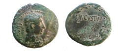 Ancient Coins - Augustus Æ 25mm.  AVGVSTVS within laurel wreath.