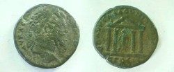 Ancient Coins - Septimius Severus AE28 of Nikopolis ad Istrum.  Tetrastyle temple with Asklepios within leaning on serpent staff.