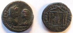 Ancient Coins - Caracalla & Julia Domna AE27 Pentassarion of Markianopolis. tetrastyle temple with peaked roof, statue of Serapis