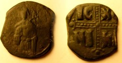 Ancient Coins - Anonymous Class C Follis, attributed to Michael IV/IC-XC-NI-KA divided by jewelled cross.