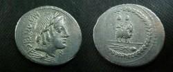 Ancient Coins - Mn Fonteius Cf Denarius,  85 BC.  Infant Genius riding goat right, caps of the Dioscuri above, filleted thyrsos below.