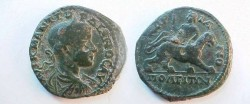 Ancient Coins - Gordian III AE26 of Hadrianoplis, Thrace.  Dionysos riding right on panther. Rare!
