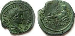 Ancient Coins - Gordian III AE26 of Hadrianopolis, Thrace.River-god reclining left, holding palm-tree with 6 branches,