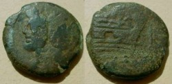 Ancient Coins - Anonymous AE As. Janus / Prow with I above.