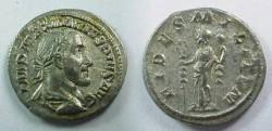 Ancient Coins - Maximinus I Denarius.  FIDES MILITVM, Fides standing facing, head left, military standard in each hand.