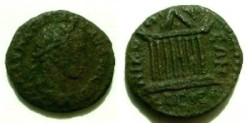 Ancient Coins - Elagabalus AE18 of Nikopolis ad Istrum.  Octostyle temple.