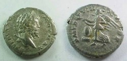 Ancient Coins - Septimius Severus Denarius.  P M TR P VIII COS II P P, Victory flying left holding open wreath in both hands over round shield set on low base.