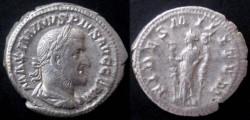 Ancient Coins - Maximinus Denarius. FIDES MILITVM, Fides standing left, a standard in each hand.