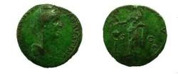 Ancient Coins - Faustina Senior Æ sestertius.  PIETAS AVG S-C, Pietas standing, head left, sacrificing over altar to left, holding box of incense.