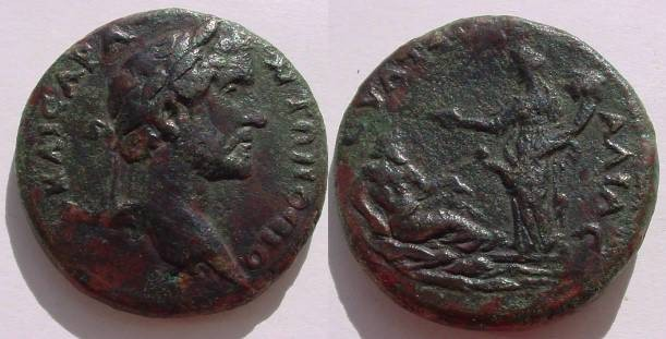Ancient Coins - ANTONINVS PIVS (138 – 161 A.D.) AE25 of Pautalia, Thrace. Bearded river-god (Strymon) reclining right on waves, resting , before him the turreted city goddess of Pautalia