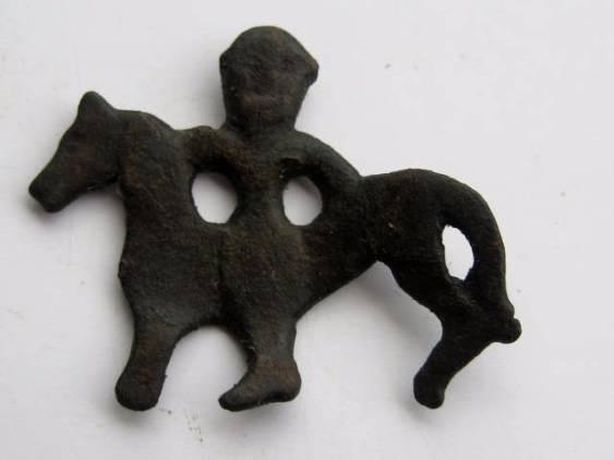 Ancient Coins - UNIQUE CELTIC BRONZE AMULET OF A HORSE AND RIDER .