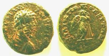 Ancient Coins - Lucius Verus AE19 of Philippopolis, Thrace.  Thanatos standing right leaning on burning torch.