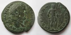Ancient Coins - Caracalla AE26 of Hadrianopoli.Herakles naked standing right, leaning on club, holding bow ready to hunt The Stymphalian Birds.