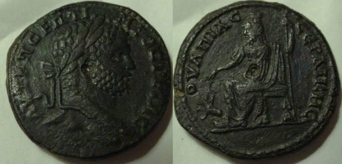 Ancient Coins - Geta AE 30 mm.Serdica.Thrace. Pluto seated left feeding his three-headed dog Cerberus
