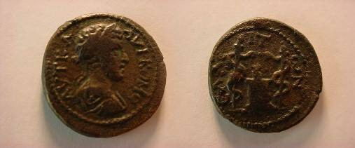Ancient Coins - Commodus AE21 of Aeolis, Elaea.  Flaming altar between two torches, each with serpent climbing up.