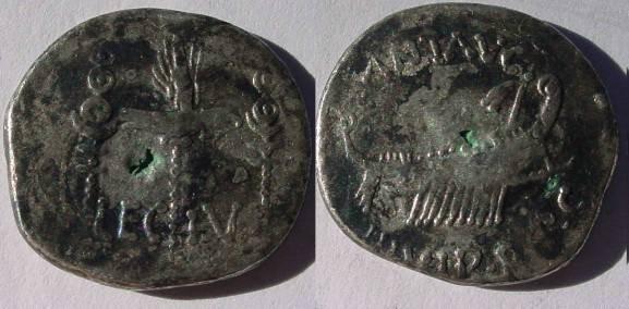 Ancient Coins - Mark Antony Legionary Denarius. 32-31 BC. Praetorian galley right / LEG IV