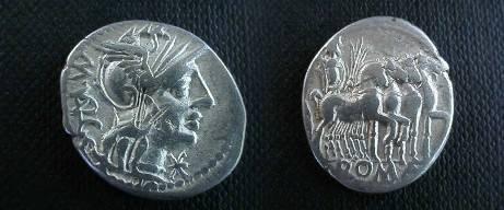 Ancient Coins - M Vargunteius Denarius,  130 BC.  Jupiter in slow quadriga right, ROMA in ex.