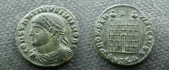 Ancient Coins - Constantine II AE3,  326-8 AD.  PROVIDENTIAE CAESS, campgate with two turrets and star above, SMTS