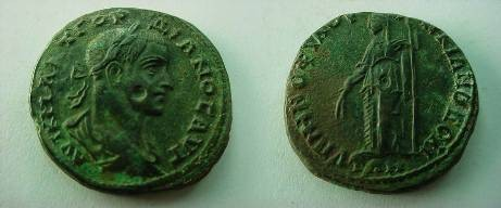 Ancient Coins - Gordian III Æ26mm of Markianopolis.  Demeter standing left with grain ears and long torch.